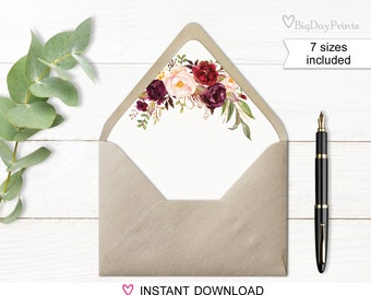 Envelope Liners, Envelope Liner Template, Watercolor Floral, White background, Boho Chic, Match to #A023, #A024