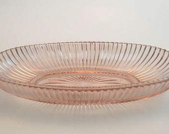 Hocking Pink Depression Glass, Queen Mary Verical Ribbed Celery Dish