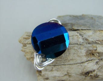 R077, Blue Faceted Glass Wire Wrapped Ring