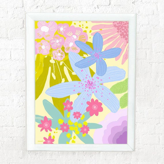 Pastel flower art for girl's nursery, print for girls room, kid's decor, nursery art, girl's floral print, pastel flowers, abstract floral