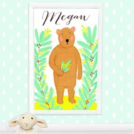 Personalized whimsical bear print for kids, custom art for kids, custom baby gift, children's decor, kid's decor, cute bear, teddy bear