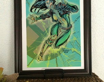 Rogue Xmen Mutant Marvel Comics Action print