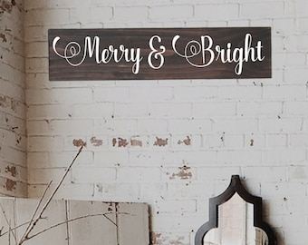 Merry and Bright, Rustic Christmas decoration, Wall Art, Wood Christmas Sign, Rustic christmas Sign, Farmhouse Christmas Signs
