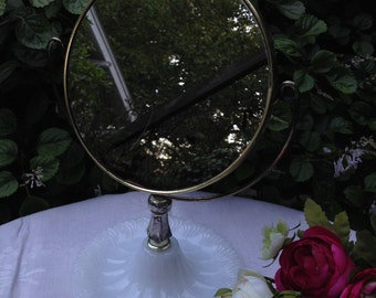Vintage Pedestal Tilting Vanity Mirror with Magnifying Mirror , Milk Glass Vanity Mirror