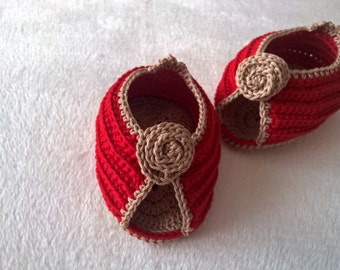 Crochet baby shoes PATTERN. Crochet baby booties. Baby sandals pattern. Infant Girl Red Shoes. INSTANT DOWNLOAD