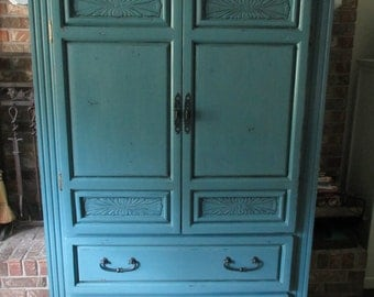 SOLD ** Knotty Pine Armoire Linen Cabinet Brushed Turquoise Teal Distressed Shabby Cottage Beach Chic Black Wrought Cast Iron Key