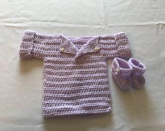 Soft purple sweater / booties set