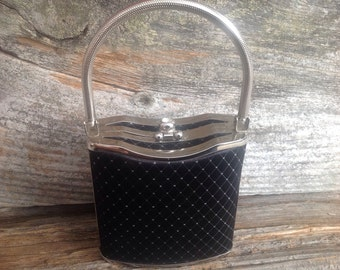 Vintage-style Hardcase Black and Silver Evening Bag special occasion /party/prom/wedding/bridal