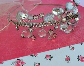 Diamante wedding tiara, bridal accessories, silver colour