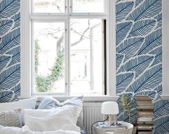 Elegant blue leaves wallpaper    Floral    Self adhesive #72