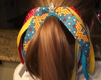 Wonder Woman, Wonder Woman hair bow,  Ponytail Streamer, ponytail, Hair Streamer, Ponytail holder, Marvel hair bow, Justice League