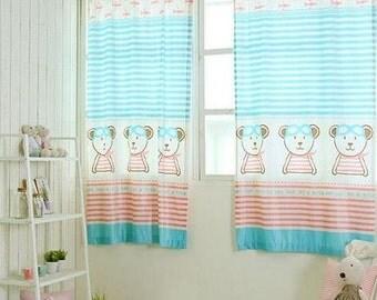 nursery room curtain 2 set/kids curtains/toddler curtain/child curtain/microfiber curtain/micro fibre curtain/cute bear curtain/boy curtain