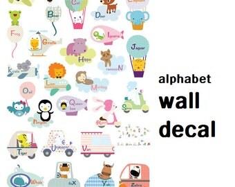 baby alphabet decals/alphabet sticker/alphabet peel stick/kids alphabet child alphabet decal/baby alphabet mural/animal baby alphabet decal