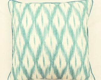 One 20-inch Teal Ikat Diamonds Pillow Cover // southwestern pillow cover // decorative pillow // modern chair pillow // kimgatesdesigns