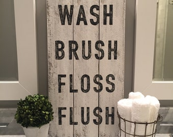 WASH Brush Floss Flush sign,  BLACK, wood pallet, bathroom art, typography, farmhouse sign