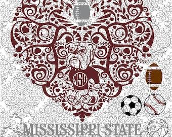 Football Basketball Baseball Soccer Mississippi State Mascot Heart Digital Cut Files SVG DXF
