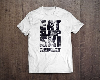 Eat, Ski, Sleep, Repeat - Skiing Mountain - Mens and Womens Round Neck T-Shirt