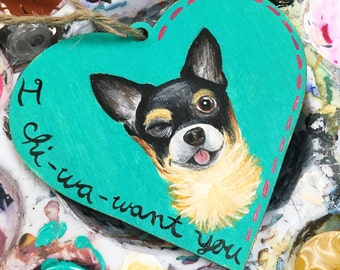 Acrylic Handpainted Chihuahua Valentines Wooden Ornament Dog/Pet/Cat Valentines Day