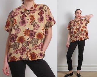 90s Earthtone Watercolor Floral Shirt / M