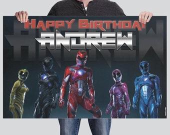 BANNER - Power Rangers - Custom Birthday Banner - Party Banner