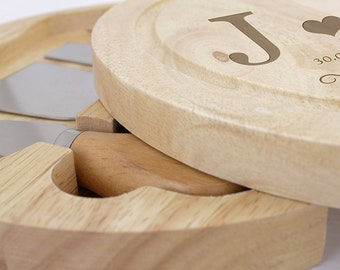 Personalised Monogram Cheese Board 4 Piece Set Wedding Anniversary Couples Gift