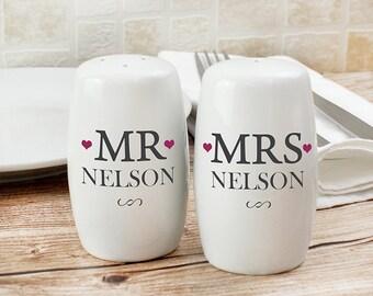 Gepersonaliseerde heer & mevrouw Salt en Pepper Shaker Set, paren Gift, bruiloft, verjaardag, nieuwe startpagina
