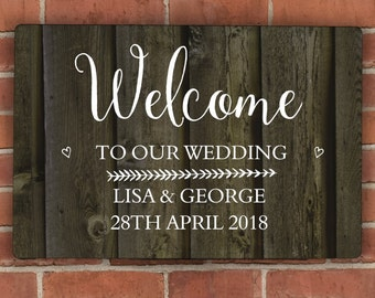 Personalised Wood Grain Metal Sign, Anniversary, Wedding, New Home, Garden, Housewarming, Wall Sign, Personalised Gift