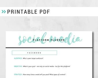 Social Media Platform Planner - Marketing Planner, Entrepreneur Planner, Branding Guide, Social Media Marketing, Digital Marketing, Creative