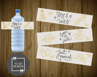 Wedding Day Printable Water Bottle Labels DIY Save the Date Water Bottle Labels Ready to print PDF Just married bottle wrappers