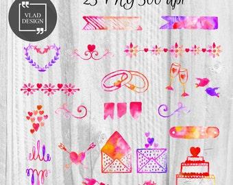 23 Watercolor Wedding Elements Clipart Digital Love Elements Cute Love graphics Wedding clipart Valentine's clip art