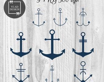 9 Anchors Clipart Nautical Clipart Digital Anchors Elements Marine graphics Sea clipart Maritime clipart Naval clipart Anchor images