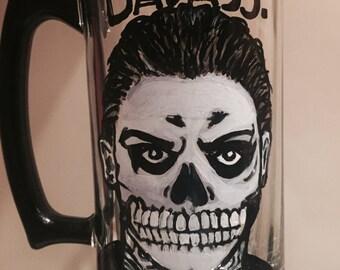 American Horror Story Evan Peters Tate Skull Skeleton Beer Mug Custom Painted Glass, Wine Beer Champagne Whiskey glass mug mason jar