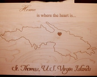 Personalized State or Island Cutting Board with free wire stand, Home Is Where The Heart Is, USVI ,is a great gift