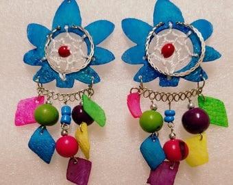 Dreams catcher, fish scales earrings