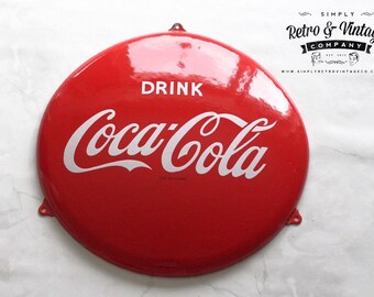 Genuine 1950's Enamel COCA COLA button sign Stunning Porcelain