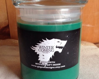22oz Game of Thrones House Stark Candle with The North scent. Made with 100% soy wax with a mystery gift inside!