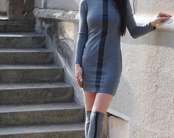 Grey casual dress/Grey long tunic with gaiters/grey sleeve top/grey sleeve dress with gaiters/casual grey dress
