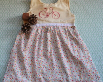 Handmade Toddler Girl's Bicycle and Floral Cotton & Screenprinted Dress-Size 4T