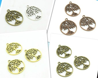 Bulk sale 100 Pieces /Lot Antique Silver Plated 29mm trees charms