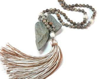 Brown Jasper Necklace Mala Boho Style. Yoga. Meditation. Ideas for her. Boho Jewelry. Bohemian Necklace. Tassel Necklace