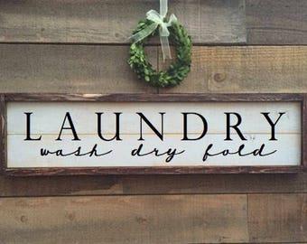 Laundry sign, vintage Home Decor