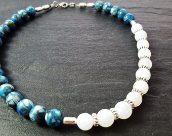 White and blue necklace