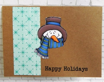 Snowman Christmas card, Christmas card set, Holiday card, Handmade Christmas card