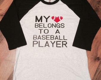 My Heart Belongs To A Baseball Player Raglan