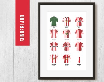 PERSONALISED Sunderland Team Print, Football Poster, Football Gift, FREE UK Delivery