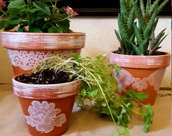 Set of three clay pots with Lace detail.