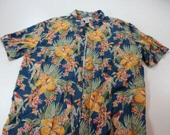 Vintage Mens Margaritaville Floral Hawaiian Shirt Sz XL Et A8