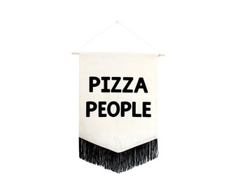 Pizza People Printed Banner with Fringe - Black & White Cotton Wall Hanging - Pizza Artwork to Hang -  Gifts for Foodies