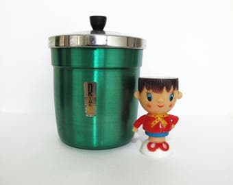 Vintage Retro Green Anodised Rice Canister