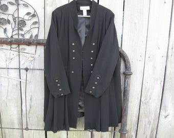 ship free Denim 24/7 Womens Military Jacket Coat Steampunk Black size  26W Buttons long sleeves